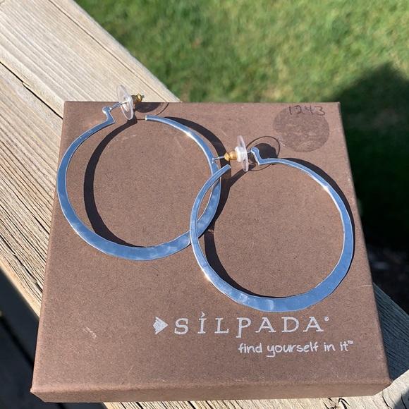 P1287 Silpada hammered Hoop sterling earrings